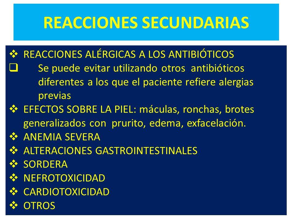 REACCIONES SECUNDARIAS REACCIONES ALÉRGICAS A LOS ANTIBIÓTICOS Se puede evitar utilizando otros antibióticos diferentes a los que el paciente refiere
