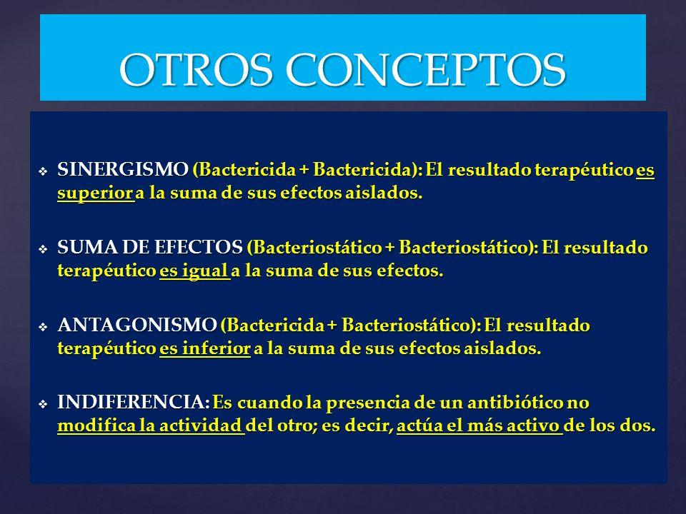 SINERGISMO (Bactericida + Bactericida): El resultado terapéutico es superior a la suma de sus efectos aislados. SINERGISMO (Bactericida + Bactericida)