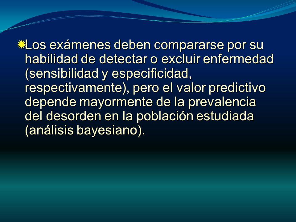 Los exámenes deben compararse por su habilidad de detectar o excluir enfermedad (sensibilidad y especificidad, respectivamente), pero el valor predict