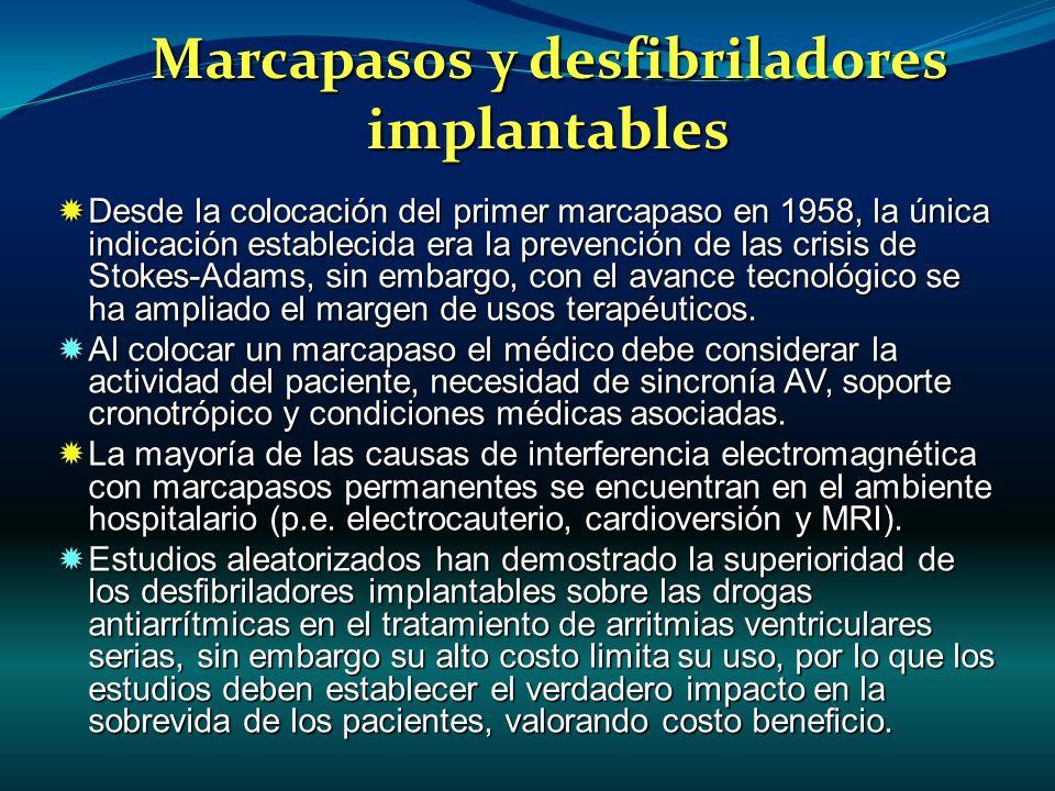 Marcapasos y desfibriladores implantables Desde la colocación del primer marcapaso en 1958, la única indicación establecida era la prevención de las c