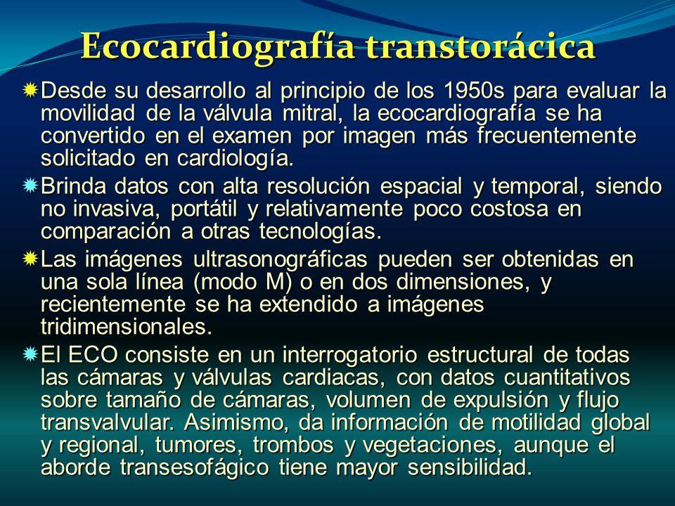 Ecocardiografía transtorácica Desde su desarrollo al principio de los 1950s para evaluar la movilidad de la válvula mitral, la ecocardiografía se ha c