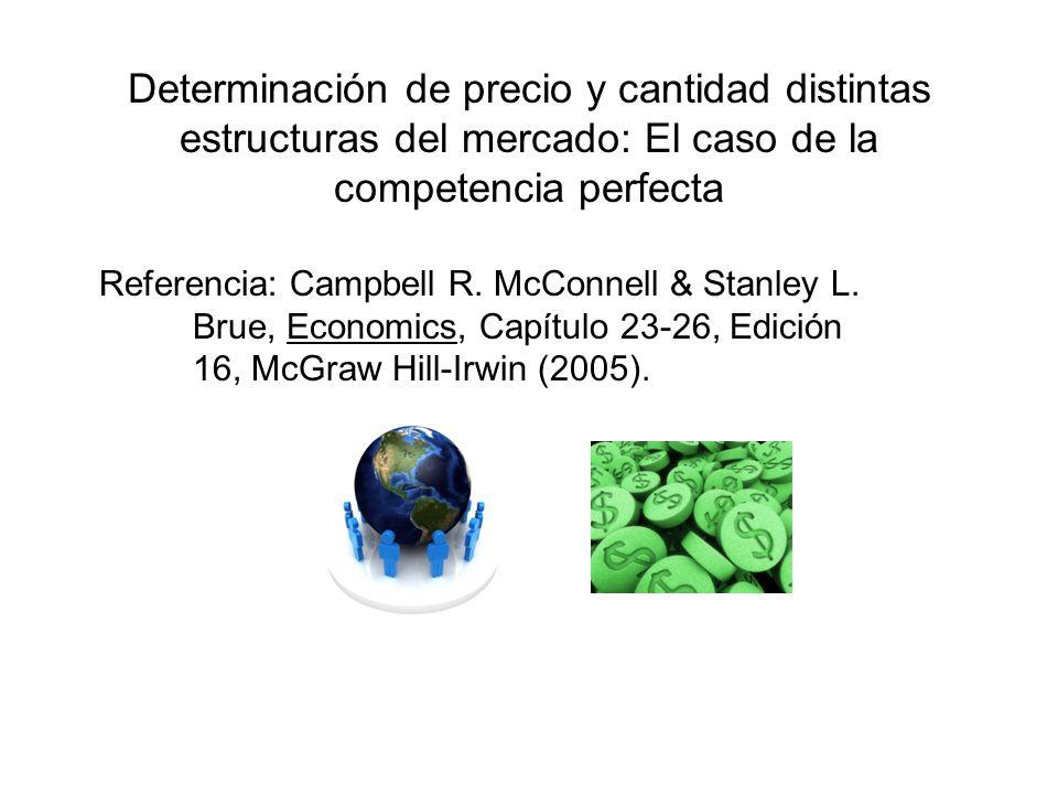 Determinación de precio y cantidad distintas estructuras del mercado: El caso de la competencia perfecta Referencia: Campbell R. McConnell & Stanley L