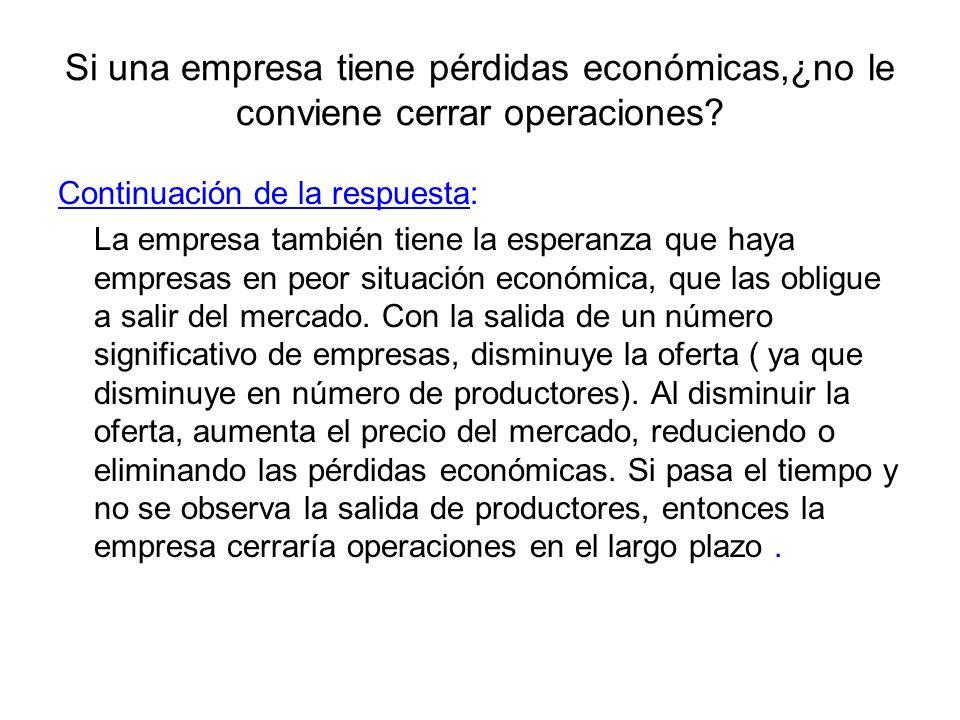 Si una empresa tiene pérdidas económicas,¿no le conviene cerrar operaciones? Continuación de la respuesta: La empresa también tiene la esperanza que h