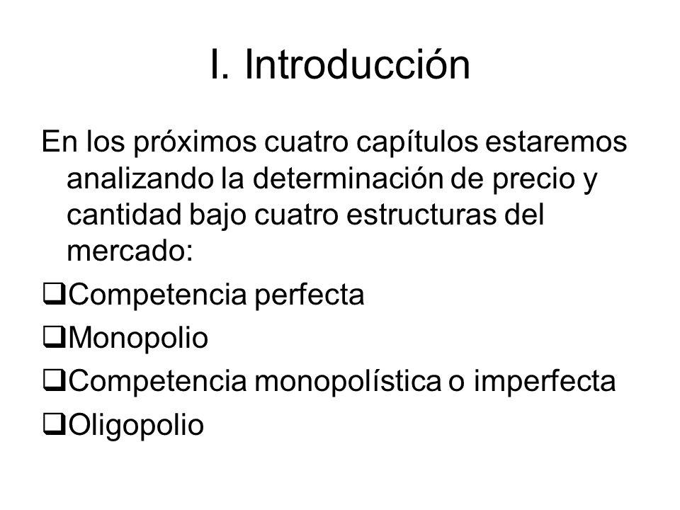 I. Introducción En los próximos cuatro capítulos estaremos analizando la determinación de precio y cantidad bajo cuatro estructuras del mercado: Compe