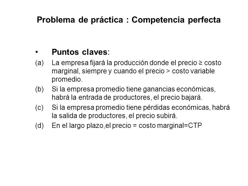 Problema de práctica : Competencia perfecta Puntos claves: (a)La empresa fijará la producción donde el precio costo marginal, siempre y cuando el prec