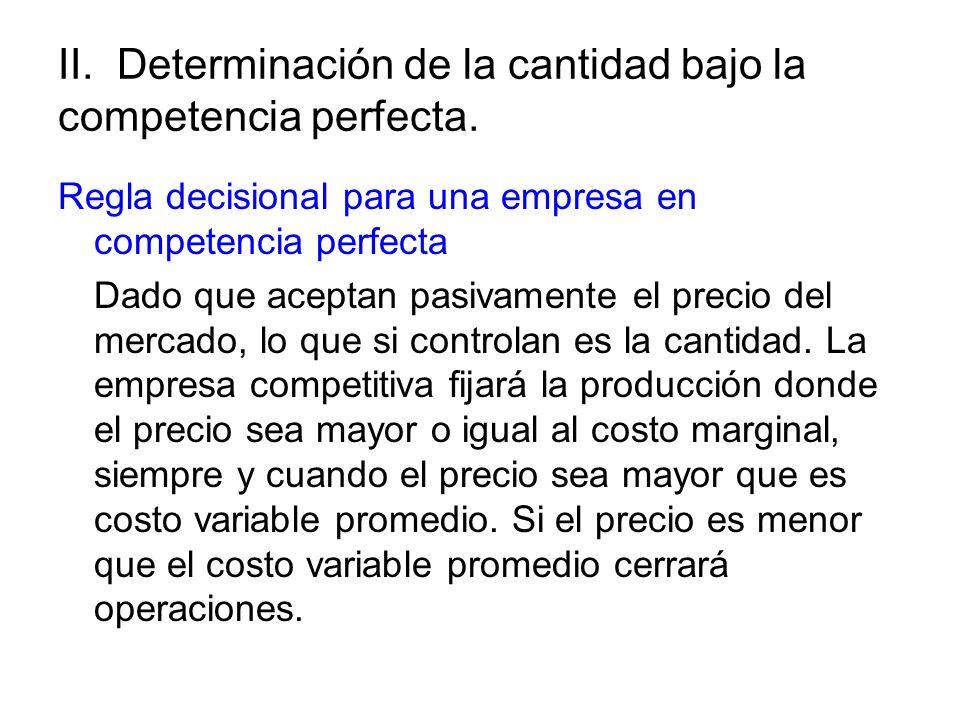 II. Determinación de la cantidad bajo la competencia perfecta. Regla decisional para una empresa en competencia perfecta Dado que aceptan pasivamente
