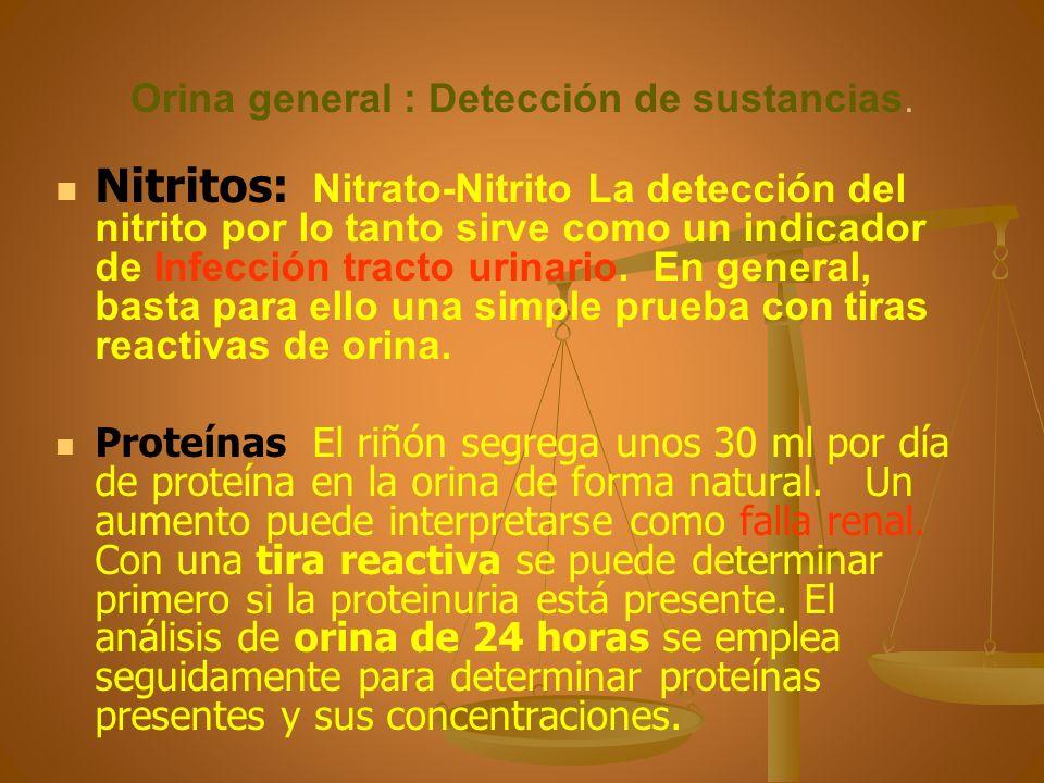 Orina general : Detección de sustancias. Nitritos: Nitrato-Nitrito La detección del nitrito por lo tanto sirve como un indicador de Infección tracto u