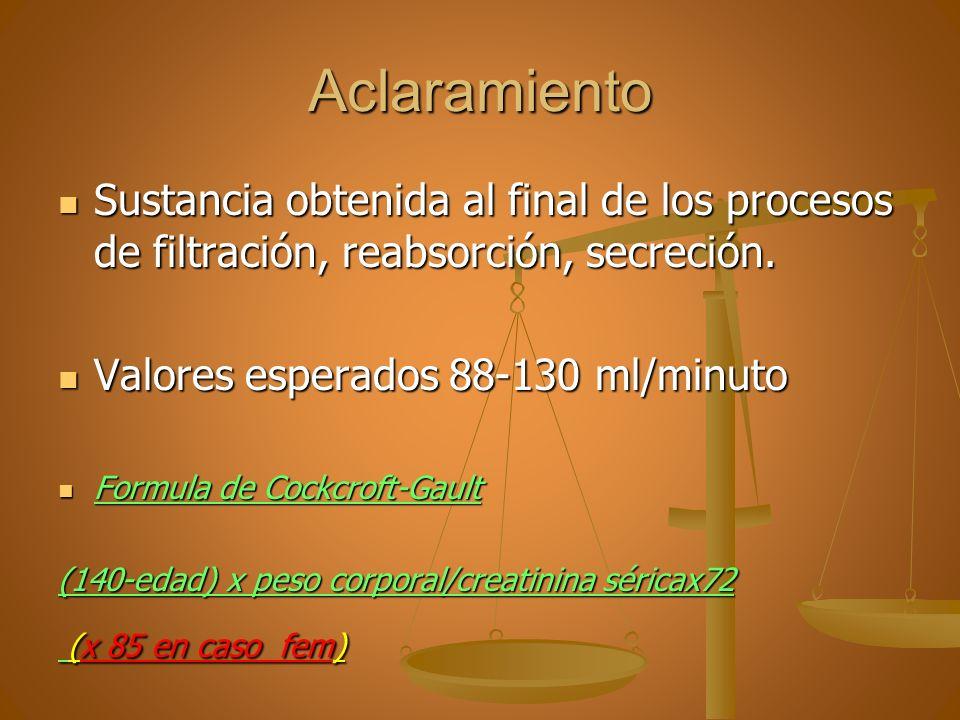 Aclaramiento Sustancia obtenida al final de los procesos de filtración, reabsorción, secreción. Sustancia obtenida al final de los procesos de filtrac