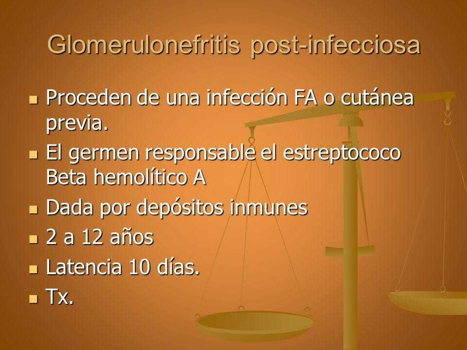 Glomerulonefritis post-infecciosa Proceden de una infección FA o cutánea previa. Proceden de una infección FA o cutánea previa. El germen responsable