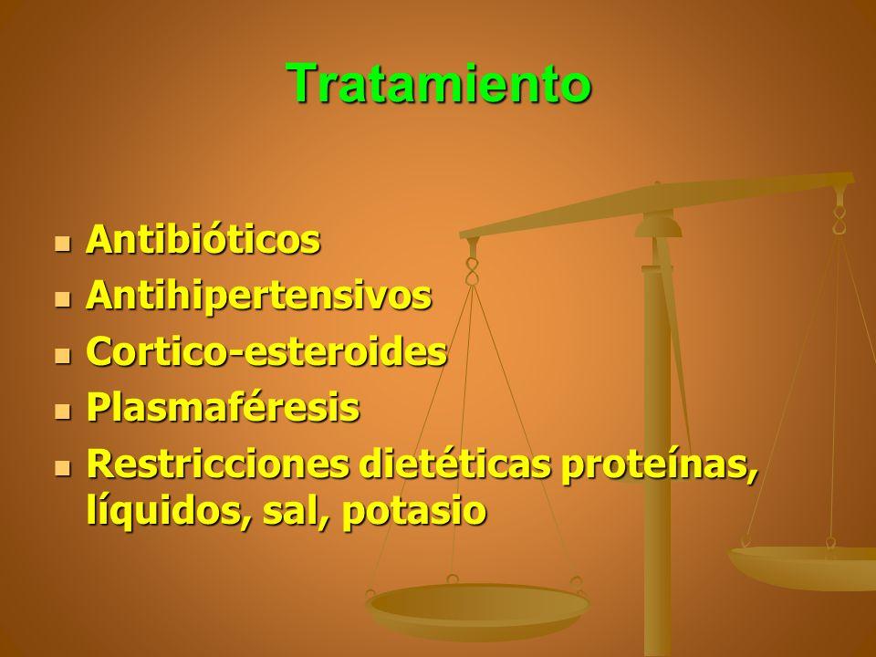 Tratamiento Antibióticos Antibióticos Antihipertensivos Antihipertensivos Cortico-esteroides Cortico-esteroides Plasmaféresis Plasmaféresis Restriccio
