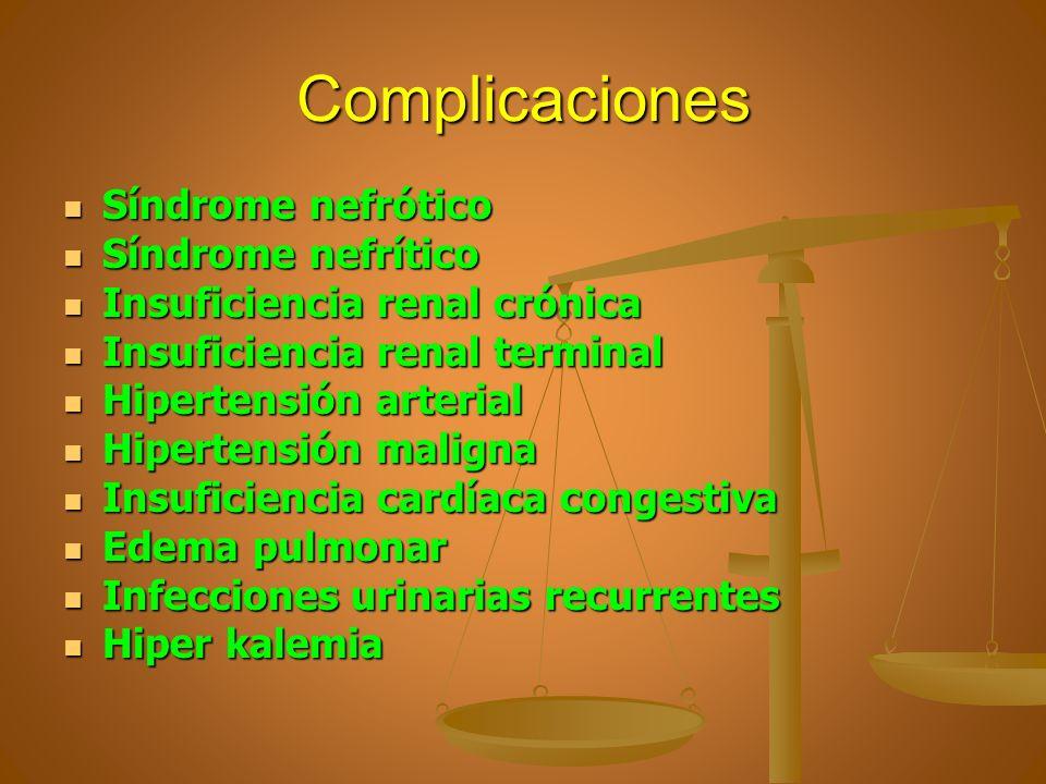Complicaciones Síndrome nefrótico Síndrome nefrótico Síndrome nefrítico Síndrome nefrítico Insuficiencia renal crónica Insuficiencia renal crónica Ins