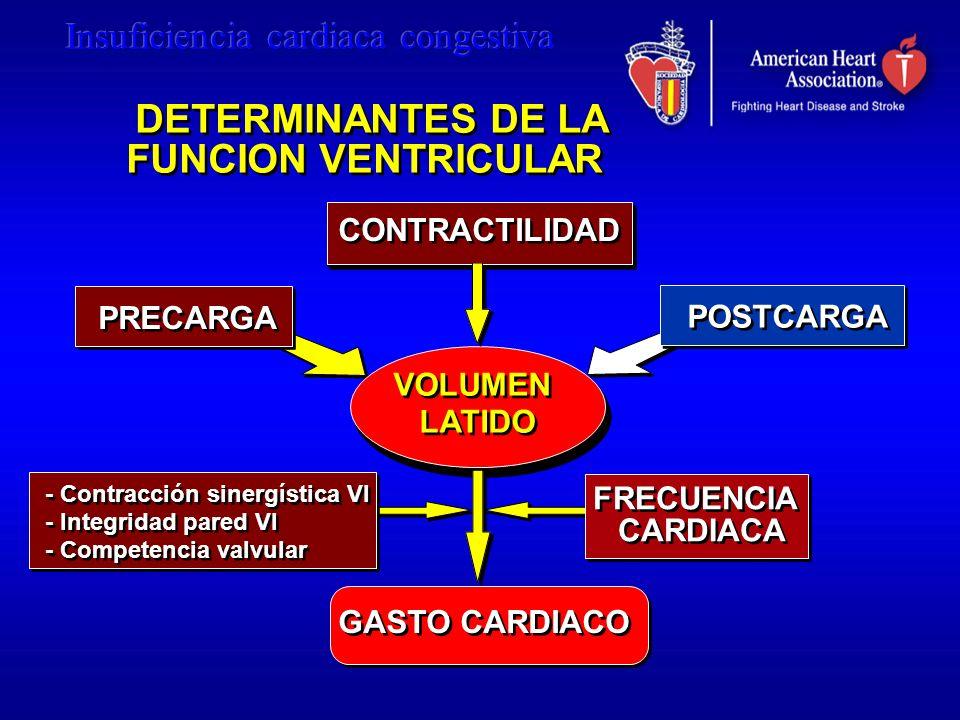 DETERMINANTES DE LA FUNCION VENTRICULAR DETERMINANTES DE LA FUNCION VENTRICULAR VOLUMEN LATIDO PRECARGA CONTRACTILIDAD GASTO CARDIACO FRECUENCIA CARDI