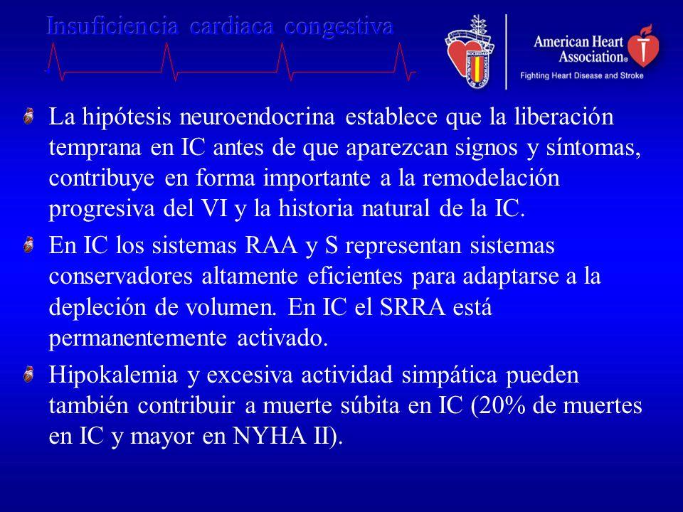 La hipótesis neuroendocrina establece que la liberación temprana en IC antes de que aparezcan signos y síntomas, contribuye en forma importante a la r