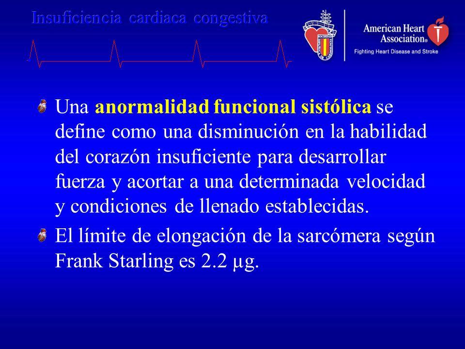 Una anormalidad funcional sistólica se define como una disminución en la habilidad del corazón insuficiente para desarrollar fuerza y acortar a una de