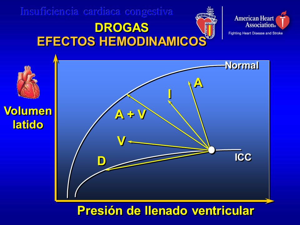 DROGAS EFECTOS HEMODINAMICOS DROGAS EFECTOS HEMODINAMICOS A A I I A + V V V D D Presión de llenado ventricular Volumen latido Volumen latido Normal IC