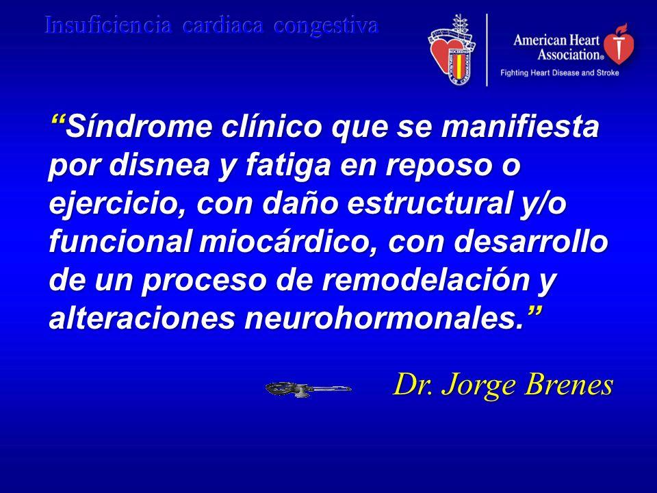 Síndrome clínico que se manifiesta por disnea y fatiga en reposo o ejercicio, con daño estructural y/o funcional miocárdico, con desarrollo de un proc