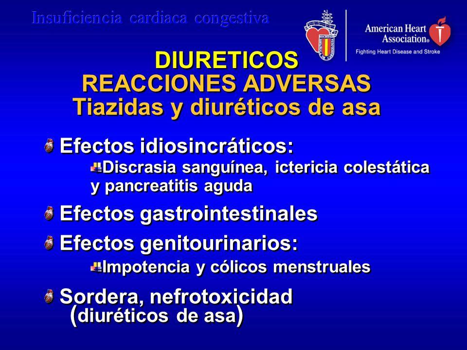 DIURETICOS REACCIONES ADVERSAS Tiazidas y diuréticos de asa DIURETICOS REACCIONES ADVERSAS Tiazidas y diuréticos de asa Efectos idiosincráticos: Discr