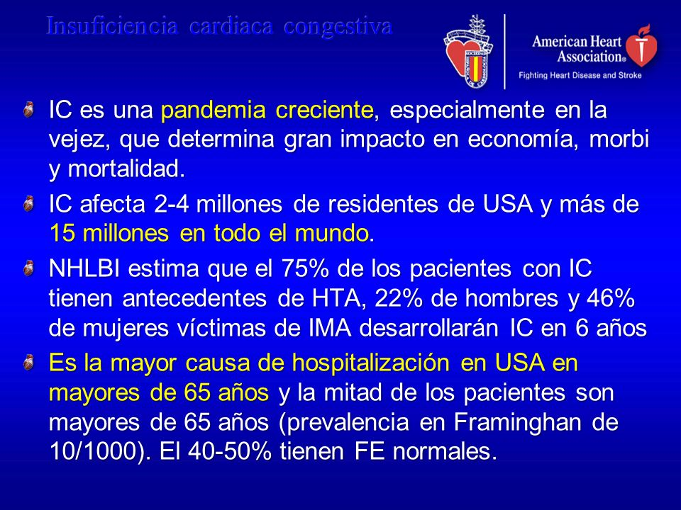 IC es una pandemia creciente, especialmente en la vejez, que determina gran impacto en economía, morbi y mortalidad. IC afecta 2-4 millones de residen