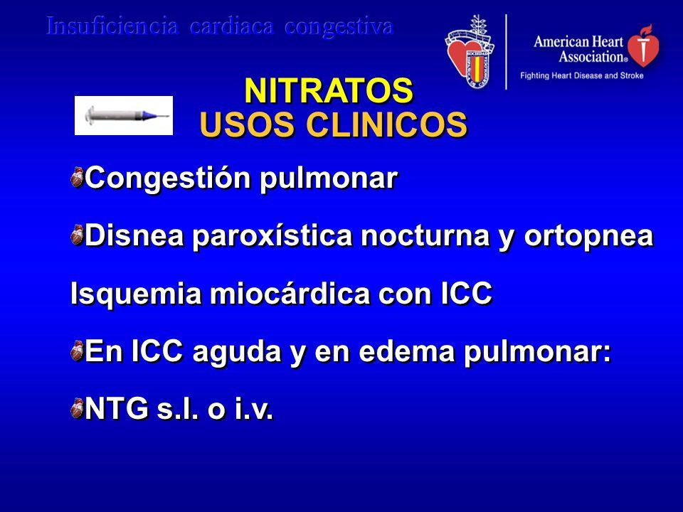 NITRATOS USOS CLINICOS Congestión pulmonar Disnea paroxística nocturna y ortopnea Isquemia miocárdica con ICC En ICC aguda y en edema pulmonar: NTG s.