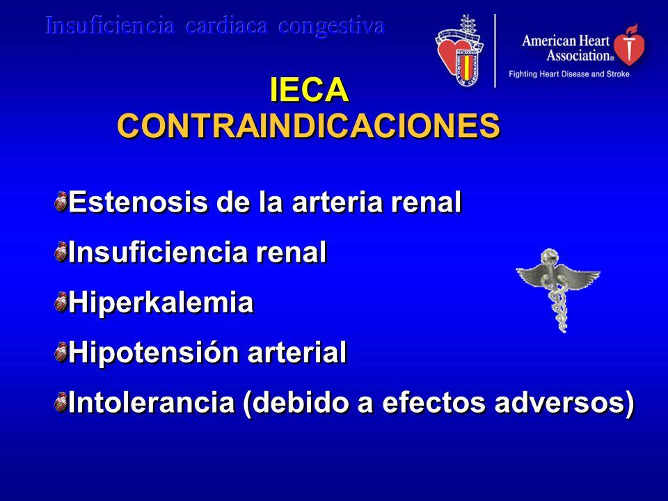IECA CONTRAINDICACIONES Estenosis de la arteria renal Insuficiencia renal Hiperkalemia Hipotensión arterial Intolerancia (debido a efectos adversos) E