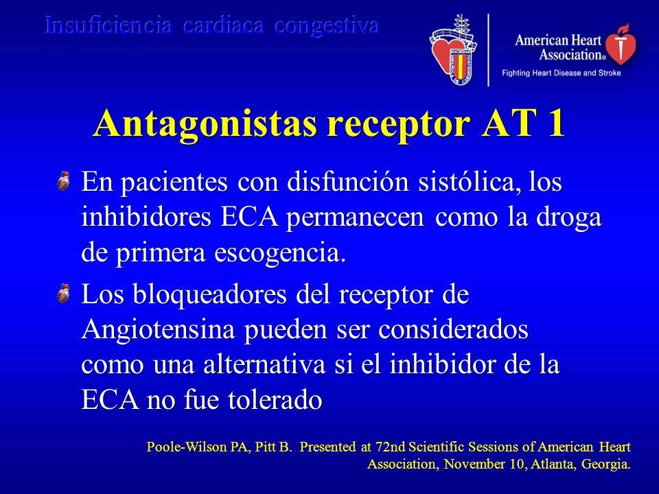 Antagonistas receptor AT 1 En pacientes con disfunción sistólica, los inhibidores ECA permanecen como la droga de primera escogencia. Los bloqueadores