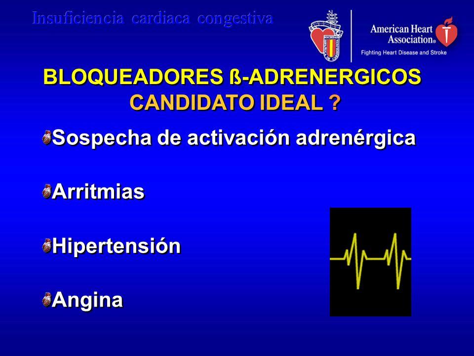 BLOQUEADORES ß-ADRENERGICOS CANDIDATO IDEAL ? BLOQUEADORES ß-ADRENERGICOS CANDIDATO IDEAL ? Sospecha de activación adrenérgica Arritmias Hipertensión