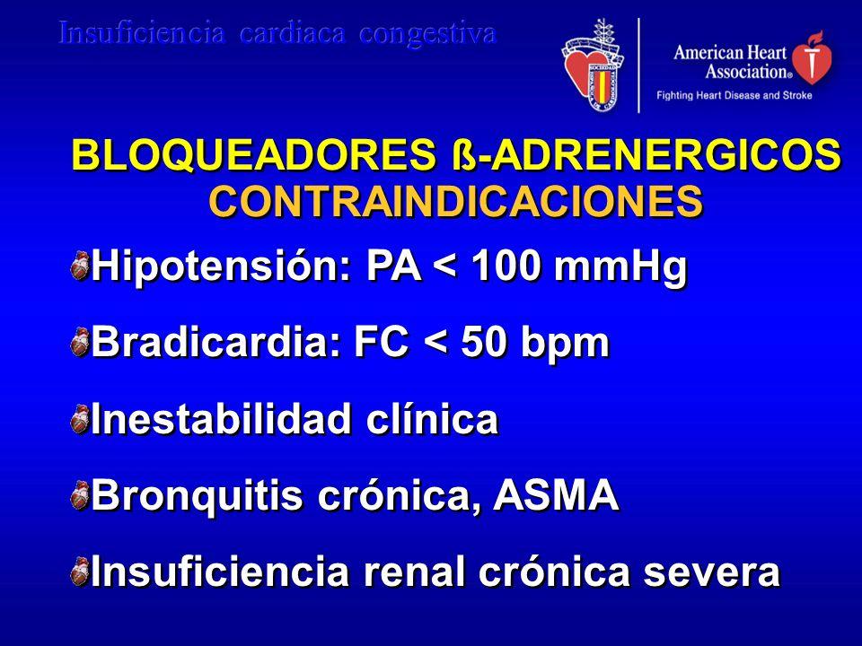 BLOQUEADORES ß-ADRENERGICOS CONTRAINDICACIONES BLOQUEADORES ß-ADRENERGICOS CONTRAINDICACIONES Hipotensión: PA < 100 mmHg Bradicardia: FC < 50 bpm Ines