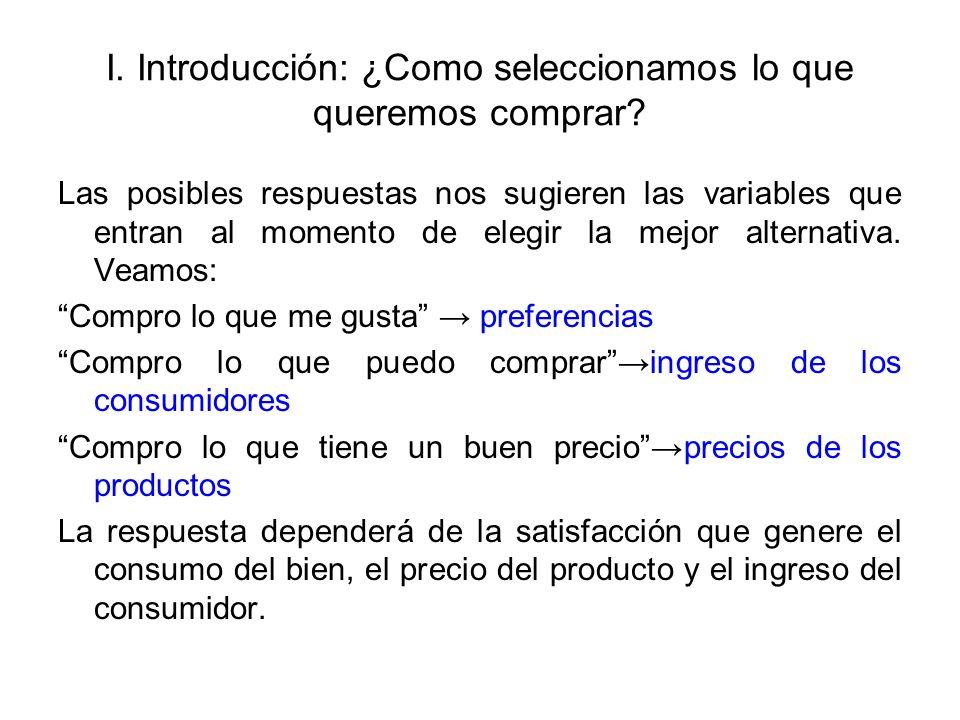 I. Introducción: ¿Como seleccionamos lo que queremos comprar? Las posibles respuestas nos sugieren las variables que entran al momento de elegir la me