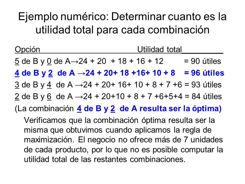 Ejemplo numérico: Determinar cuanto es la utilidad total para cada combinación OpciónUtilidad total_________ 5 de B y 0 de A24 + 20 + 18 + 16 + 12 = 9