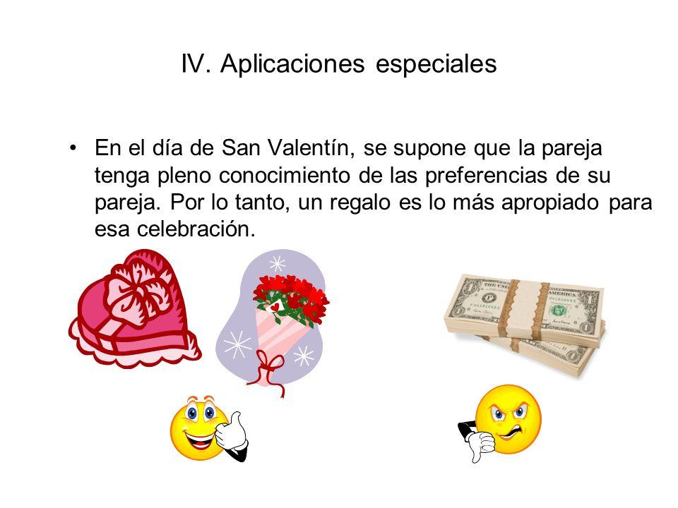 IV. Aplicaciones especiales En el día de San Valentín, se supone que la pareja tenga pleno conocimiento de las preferencias de su pareja. Por lo tanto
