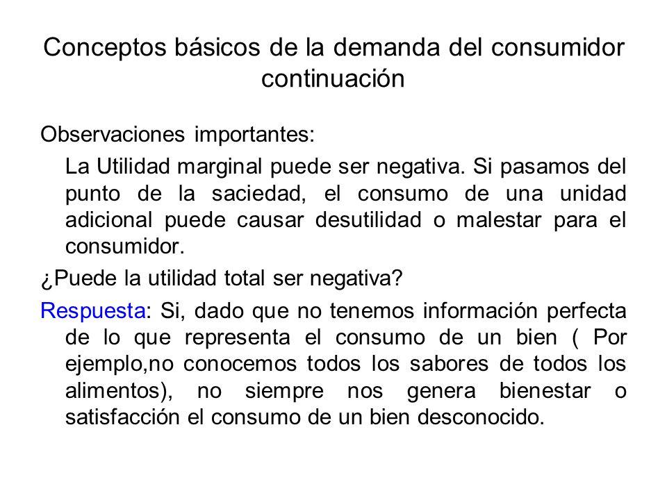 Conceptos básicos de la demanda del consumidor continuación Observaciones importantes: La Utilidad marginal puede ser negativa. Si pasamos del punto d