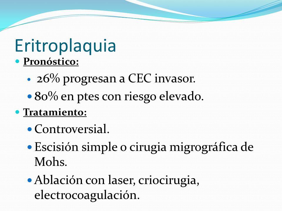 Eritroplaquia Pronóstico: 26% progresan a CEC invasor. 80% en ptes con riesgo elevado. Tratamiento: Controversial. Escisión simple o cirugia migrográf