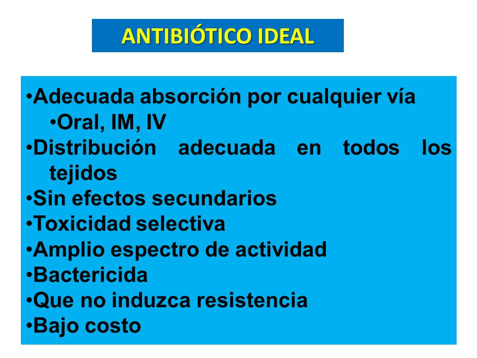 SÍNTESIS DE LA PARED Penicilinas Penicilinas Cefalosporina Cefalosporina Carbapenémicos Carbapenémicos Vancomicina Vancomicina SÍNTESIS DE ADN Fluoroquinolonas SÍNTESIS DE ARN Rifampicina Rifampicina Nitroimidazoles Nitroimidazoles SÍNTESIS DE ACIDO FÓLICO o Sulfas o Pirimetamina o Trimetoprin SÍNTESIS PROTEICA Aminoglucósidos Aminoglucósidos Lincosamidas Lincosamidas Macrólidos Macrólidos Tetraciclinas Tetraciclinas Cloranfenicol Cloranfenicol SITIOS DE ACCIÓN DE LOS ANTIMICROBIANOS