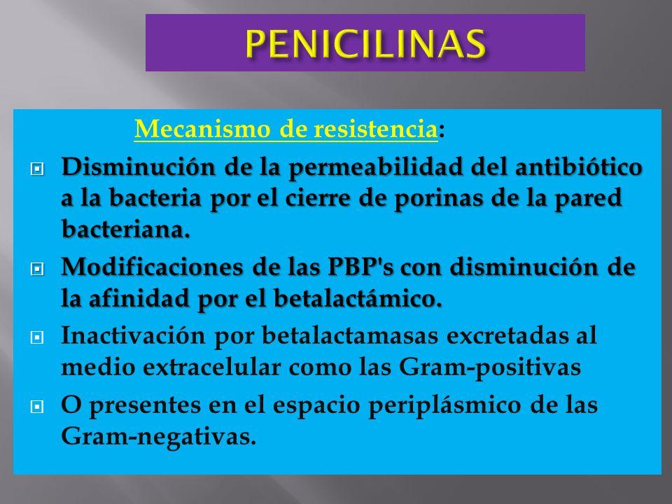 Mecanismo de resistencia: Disminución de la permeabilidad del antibiótico a la bacteria por el cierre de porinas de la pared bacteriana. Disminución d
