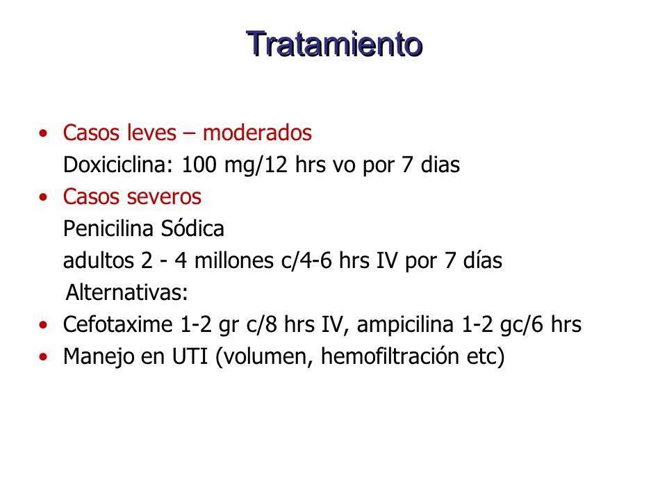 Tratamiento Casos leves – moderados Doxiciclina: 100 mg/12 hrs vo por 7 dias Casos severos Penicilina Sódica adultos 2 - 4 millones c/4-6 hrs IV por 7