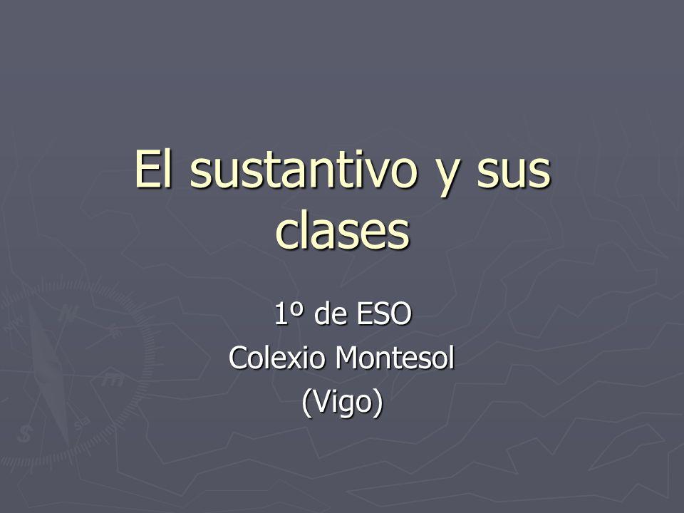 El sustantivo y sus clases 1º de ESO Colexio Montesol (Vigo)