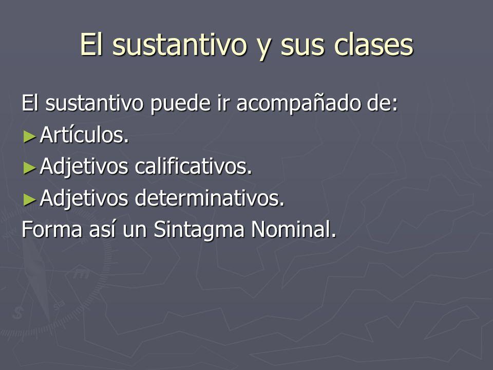 El sustantivo y sus clases El sustantivo puede ir acompañado de: Artículos. Artículos. Adjetivos calificativos. Adjetivos calificativos. Adjetivos det
