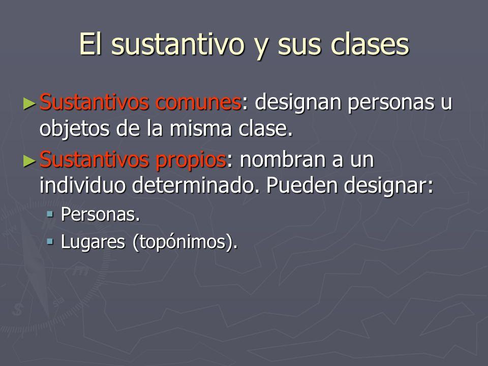 El sustantivo y sus clases Sustantivos comunes: designan personas u objetos de la misma clase. Sustantivos comunes: designan personas u objetos de la
