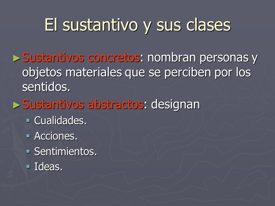 El sustantivo y sus clases Sustantivos concretos: nombran personas y objetos materiales que se perciben por los sentidos. Sustantivos concretos: nombr