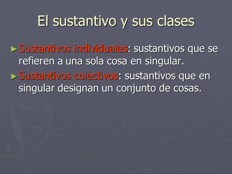 El sustantivo y sus clases Sustantivos individuales: sustantivos que se refieren a una sola cosa en singular. Sustantivos individuales: sustantivos qu