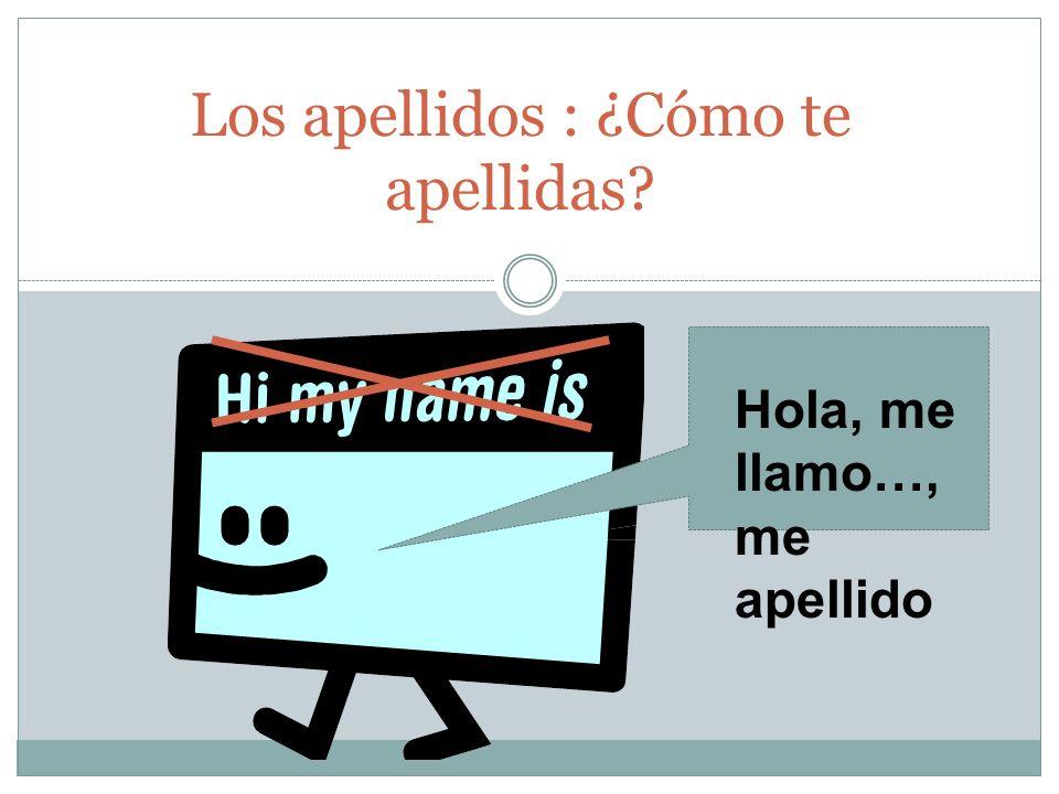 Los apellidos : ¿Cómo te apellidas? Hola, me llamo…, me apellido