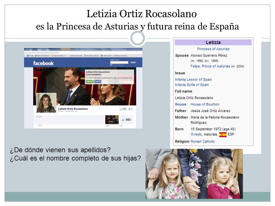 Letizia Ortiz Rocasolano es la Princesa de Asturias y futura reina de España ¿De dónde vienen sus apellidos? ¿Cuál es el nombre completo de sus hijas?