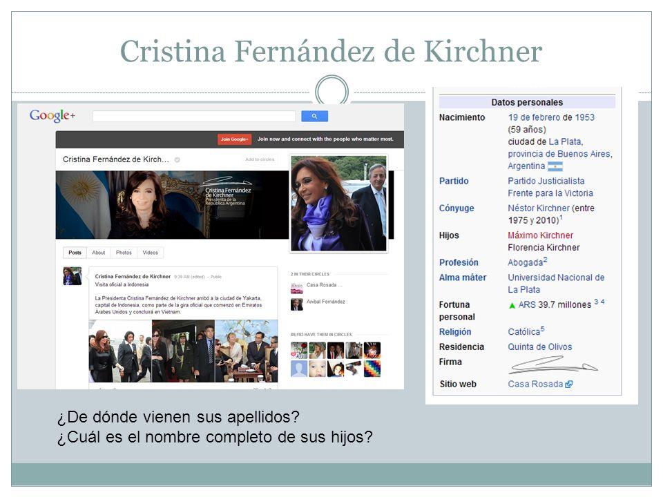 Cristina Fernández de Kirchner ¿De dónde vienen sus apellidos? ¿Cuál es el nombre completo de sus hijos?