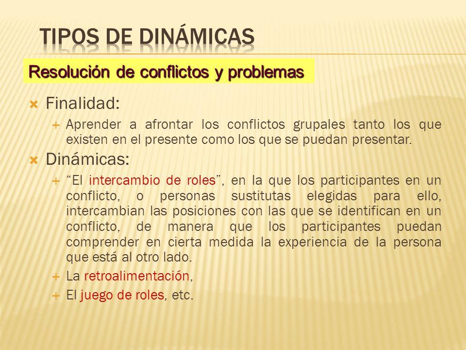 Finalidad: Aprender a afrontar los conflictos grupales tanto los que existen en el presente como los que se puedan presentar. Dinámicas: El intercambi