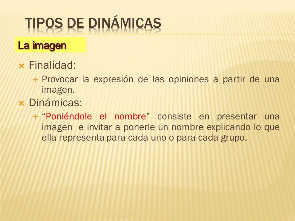 Finalidad: Provocar la expresión de las opiniones a partir de una imagen. Dinámicas: Poniéndole el nombre consiste en presentar una imagen e invitar a