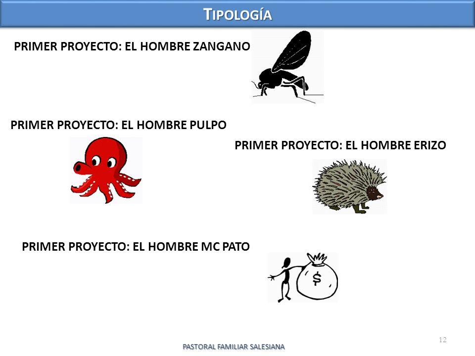 PRIMER PROYECTO: EL HOMBRE ZANGANO 12 T IPOLOGÍA PASTORAL FAMILIAR SALESIANA PRIMER PROYECTO: EL HOMBRE PULPO PRIMER PROYECTO: EL HOMBRE ERIZO PRIMER