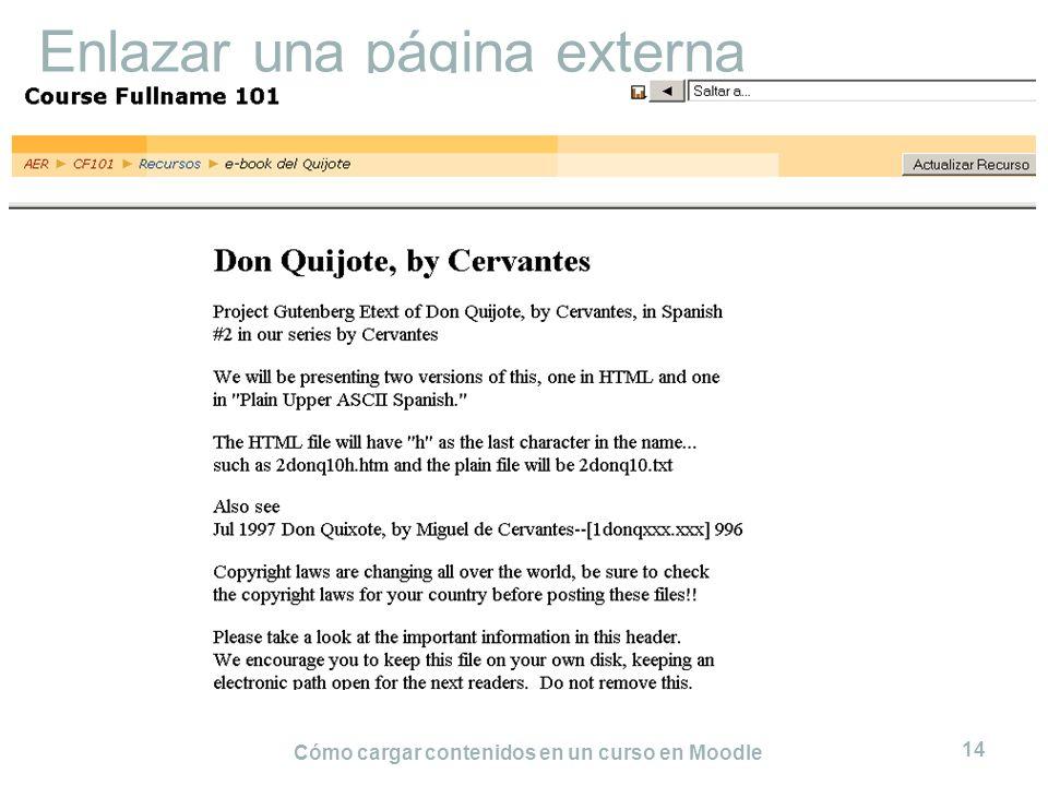 Cómo cargar contenidos en un curso en Moodle 14 Enlazar una página externa