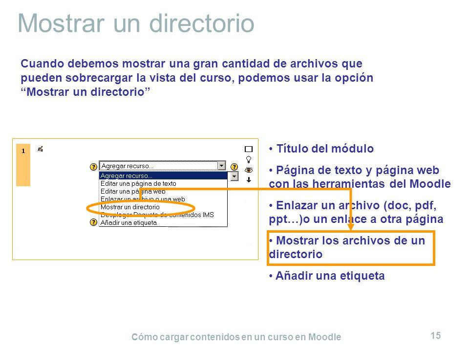 Cómo cargar contenidos en un curso en Moodle 15 Mostrar un directorio Título del módulo Página de texto y página web con las herramientas del Moodle E