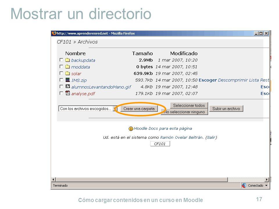 Cómo cargar contenidos en un curso en Moodle 17 Mostrar un directorio