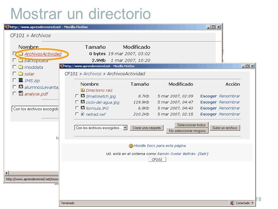 Cómo cargar contenidos en un curso en Moodle 18 Mostrar un directorio